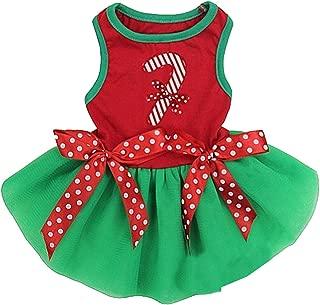 Amedahk Christmas Stick Candy Green Pets Dog Tutu Party Dress