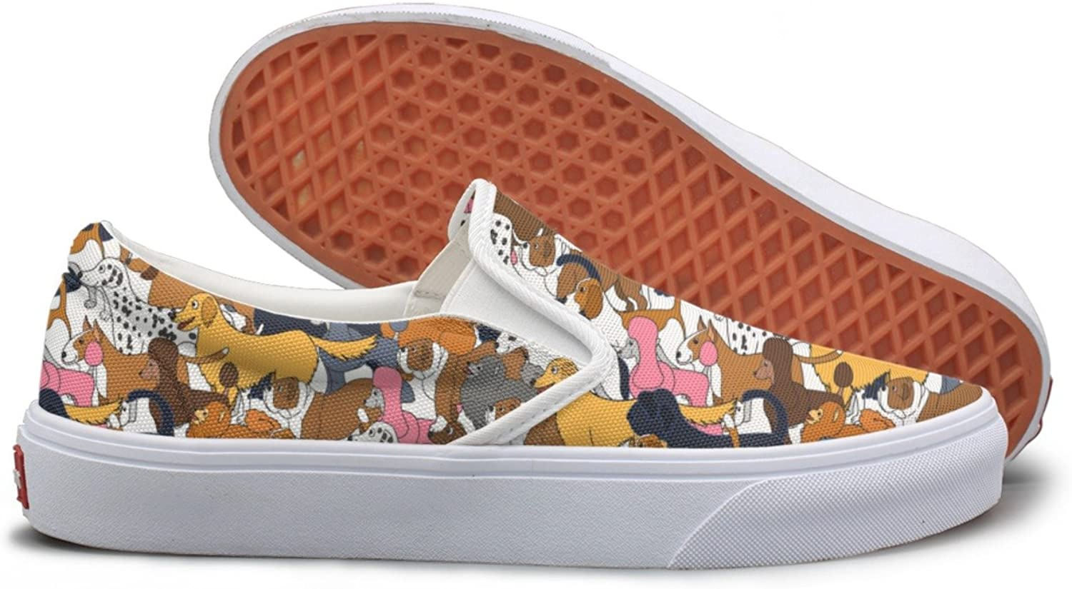 Casual Cute Cartoon Different Dogs Women Girls Canvas shoes