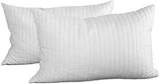 Evergreenweb – Mejores almohadas para cama de látex de 12 cm de alto, acolchadas, relleno de copos 100% efecto pluma suave, 2 almohadas para dormir x cervicales, funda blanca hipoalergénica.