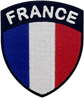 EmbTao France Shield Flag Patch Embroidered Applique Iron On Sew On French National Emblem