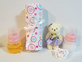 2 Reborn Baby Doll Bottles 2oz PINK Fake Milk Juice + Purple Bear + Blanket (Styles Designs WILL Vary) + I Love Mommy Pacifier + Putty + Instruction OOAK AGES 8YRS + THIS IS A PROP - NOT A TOY