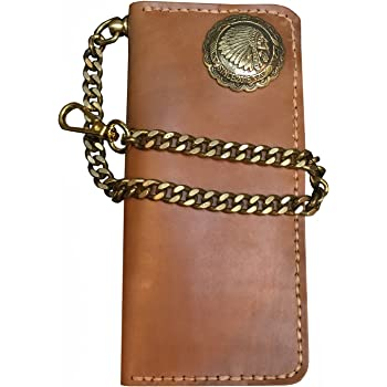 Black and Red Brown DSHARK Mens Biker 2 tone Leather Bi-fold Medium Wallet with Chain