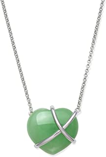 Sponsored Ad - Belacqua Sterling Silver Natural Jade Heart Necklace for Women