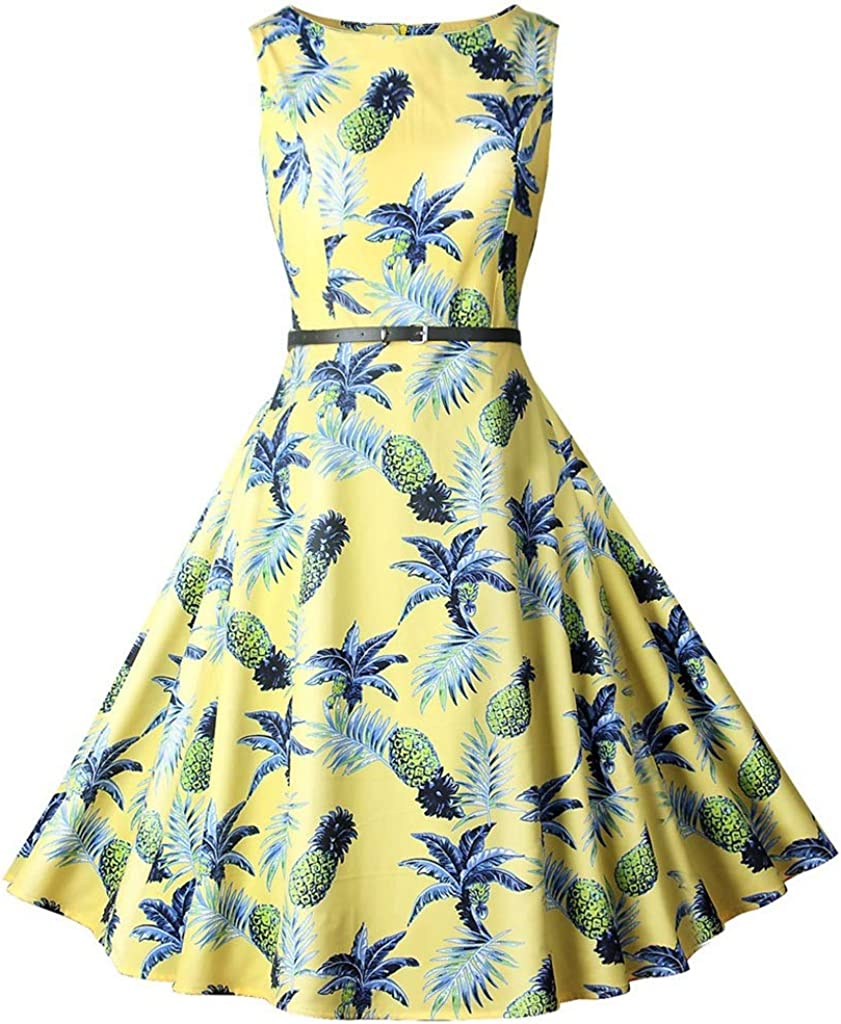 Dress,Women's Cocktail Formal Swing Dress Printed Round Neck High Waist and Large Swing Skirt 8 Colors 5 Sizes Sleeveless Slim Business Pencil (Color : B, Size : S)