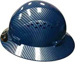 HDPE-Hydro Dipped Blue/Silver Full Brim Safety Hard Hat with Fas trac Suspension