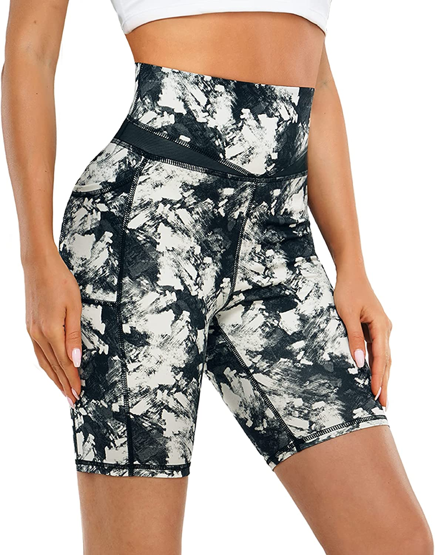 TrainingGirl High Waist Biker Shorts for Women Mesh Yoga Workout