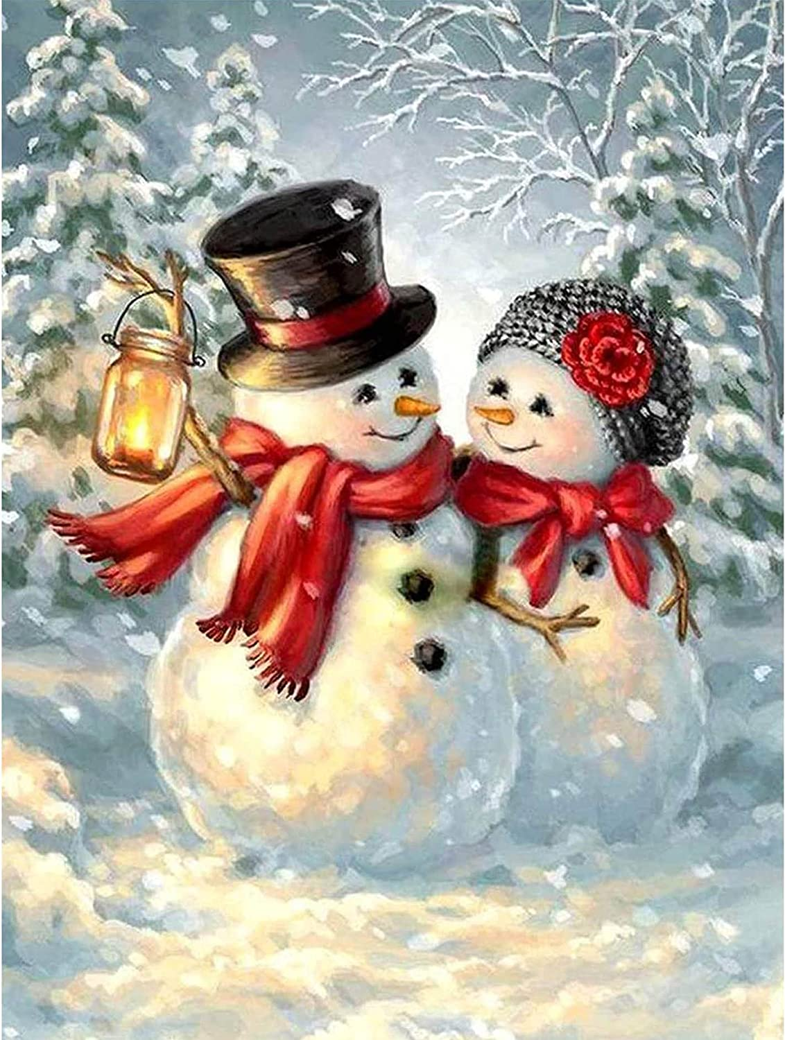 Kaliosy 5D Diamond Painting Christmas Snowman Couple by Numbers Kit Full Drill, DIY Paint with Diamonds Art for Embroidery Cross Stitch Rhinestone Crystal Home Wall Office Decoration 12x16inch
