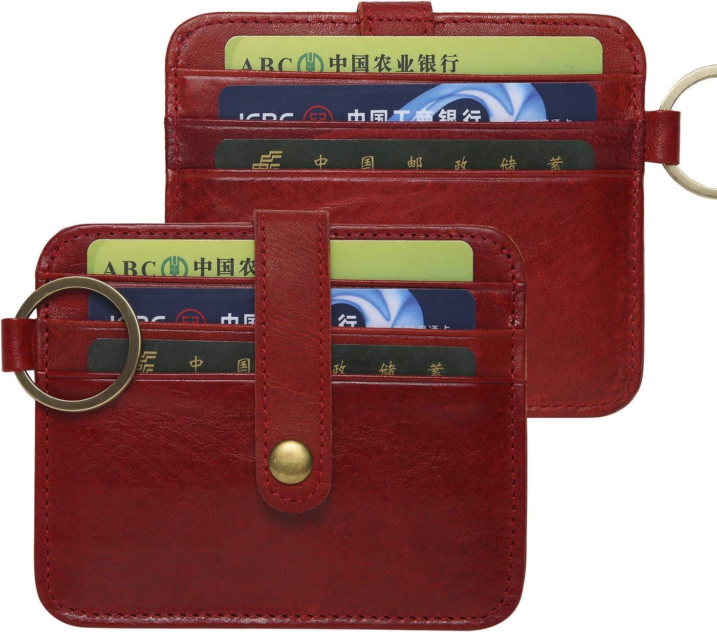 Minimalist Leather RFID Blocking Credit Card Holder Front Pocket Slim Wallet Keychain for Men & Women