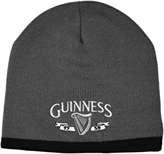 Beanie Hat with Silver Logo and Black Trim, Grey Colour
