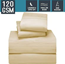 Nestl Bedding Bed Sheet Set, King Size, Beige Cream, Super Soft 120 GSM - Anti Odor Treatment - Corner Elastic Strap for a Snug Fit, Matching 3 Line Embroidery on Pillowcases and Flat Sheet