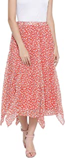 oxolloxo Women's Polyester Printed Skirt (Orange)