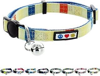 Pawtitas Pet Multicolor Cat Collar Safety Buckle Removable Bell Cat Collar Kitten Collar Cat Collar