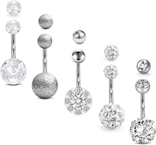 Belly Rings Silver 14G Stainless Steel Belly Button Rings for Women Girls Navel Barbell..