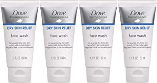 Dove DermaSeries Dry Skin Relief Face Wash, Fragrance-Free, Travel Size, 1.7 Ounce (Pack of 4)