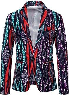 Allthemen Mens Casual Suit Blazer Ethnic Printed Blazer Jacket 1 Button Dress Floral Suit Wedding Prom Party Tuxedo