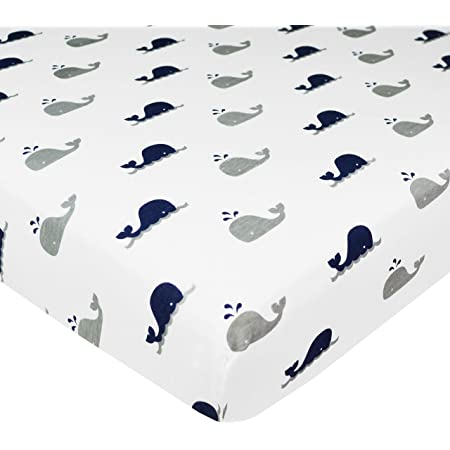 for Boys /& Girls Soft Breathable Navy Whale American Baby Company Printed 100/% Natural Cotton Jersey Knit Fitted Pack N Play Playard Sheet