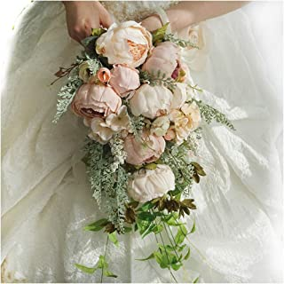 Luvier Rustic Blush Peony Plants Teardrop Cascading Wedding Bouquets Artificial Fake Flowers lace Waterfall Shape toss Bridal Bouquet (Champagne)