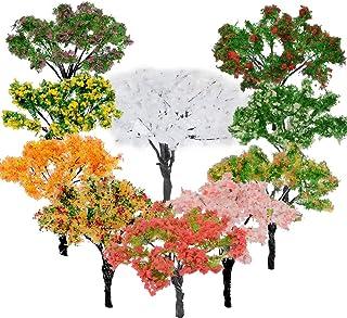 BESTZY 10 st modellträd blandade modeller träd dioramaträd tåg träd järnväg landskap för gör-det-själv landskap naturgrön...