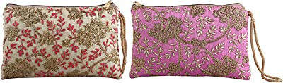 Kuber Industries Floral Design 2 Pieces Polyester Handcrafted Embroidered Women Handbag (CTKTC4407)