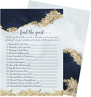 Navy and Gold Bridal Shower Find the Guest Game - Pack of 25