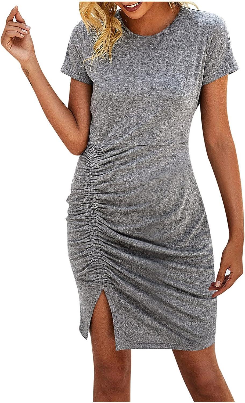 PMUYBHF Women's Casual Crewneck Short Sleeve Ruched Stretchy Bodycon T Shirt Short Mini Dress