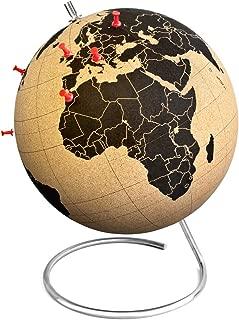 Suck UK Large Desktop Cork Globe   Push PINS Included   Educational World MAP   Travel Accessories   Adventure & Memories Display, Brown/Black