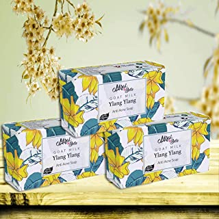 Mirah Belle - Organic Goat Milk, Ylang Ylang Anti Acne Soap Bar (Pack of 3) - Best for Blemished, Acne Prone, Scarred Skin...