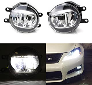 iJDMTOY LH RH OEM Spec Xenon White LED Fog Lights For Lexus or Toyota as Upgrade or Replacement, Powered by (2) Philips Luxeon LED Emitters
