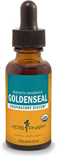 Herb Pharm Certified Organic Goldenseal Liquid Extract for Respiratory System Support, Organic Cane Alcohol, 1 Ounce
