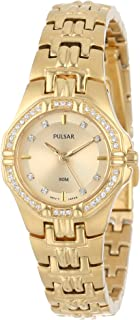 Women's Crystal Accented Goldtone Stainless Steel Watch