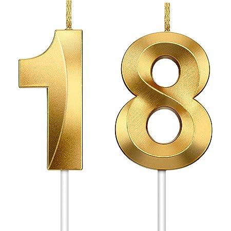Hicarer 2 Pièces Bougie Numérique Bougies à Paillettes d'or Bougies Décoratives de Gâteau d'anniversaire Décoration de Topper de Gâteau d'anniversaire pour Graduation Célébration Mariage (Numéro 18)