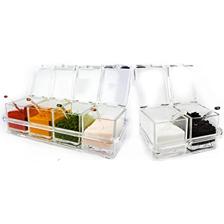 Six Compartment Condiment & Spice Box Serving Set with Spoons - 2 & 4 Section Seasoning Storage Container Rack Combo Set with Removable Cruet Jars (5.75 oz capacity each)   by ImpiriLux