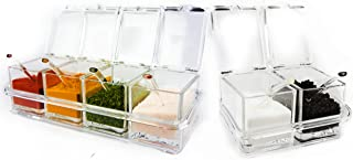 Six Compartment Condiment & Spice Box Serving Set with Spoons - 2 & 4 Section Seasoning Storage Container Rack Combo Set with Removable Cruet Jars (6 oz capacity each)   by ImpiriLux
