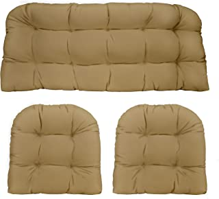3 Piece Wicker Cushion Set - Indoor / Outdoor Tan Solid Fabric Cushion for Wicker Loveseat Settee & 2 Matching Chair Cushions