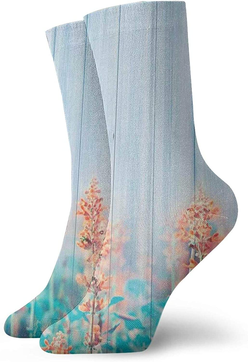 Compression High Socks-Flourishing Flowers Floral Blooms Garden Country House On Oak Plank Image Art Best for Running,Athletic,Hiking,Travel,Flight