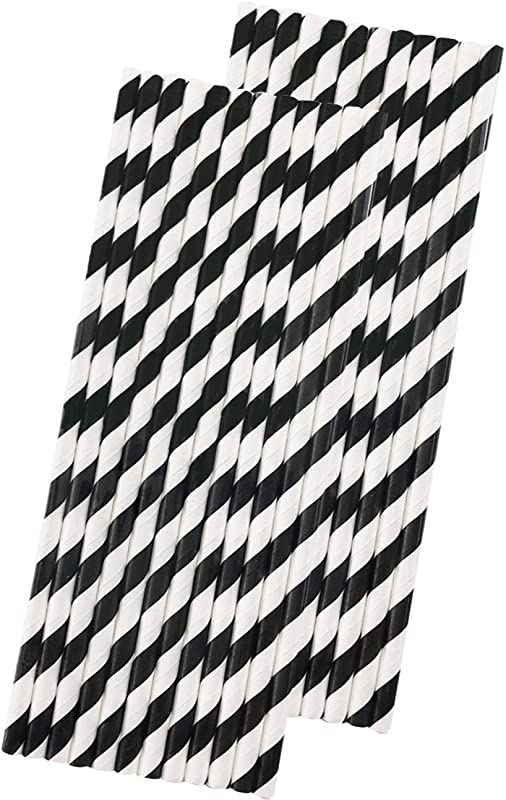 Stripe Paper Straws Black White 7 75 Inches Pack Of 50 Outside The Box Papers Brand