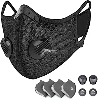 HONYAO Reusable Dust Face M Earloop Dust M, Protective M with Activated Carbon Filter and Valves for Allergy, Woodworking, Mowing, Outdoor Activities, Etc (Black)