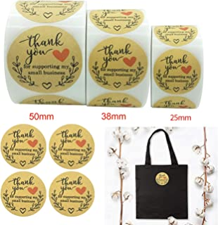 Party DIY Decorations - 500pcs 2.5/3.8/5CM Kraft Paper Thank You for Supporting My Small Business Sticker Packing Seal Lab...