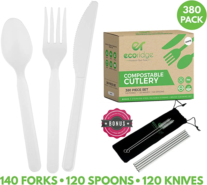 100 Compostable Utensils Disposable Cutlery 380 Piece Disposable Forks Spoons Knives Compostable Silverware Non GMO BPA Free Disposable Utensils Compostable Party Supplies Non Plastic Cutlery
