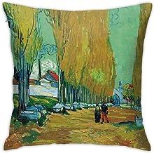 Fundas de almohada de 45,7 x 45,7 cm Van Gogh Les Alyscamps fundas de cojín de poliéster suave, cuadradas, decorativas, para sala de estar, sofá, cama, fundas de almohada de 45 x 45 cm