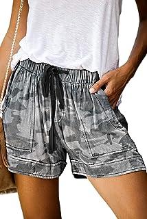 شلوارک زنانه زنانه QUEEN PLUS شلوارک راحتی گاه به گاه کمر الاستیک کش دار با شلوار جیبی تابستانی