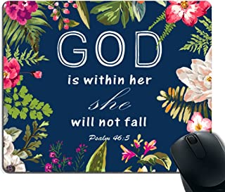 Smooffly Gaming Mouse Pad Custom,Christian Quotes Mouse pad,Bible Verses God Is Within Her She Will Not Fall Psalm 46:5 Personality Desings Gaming Mouse Pad