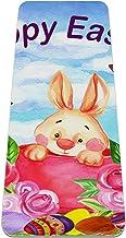 Yoga Mat - Pasen grappige konijntjes eieren vlinder bloemen - Extra Dikke Antislip Oefening & Fitness Mat voor Alle soorte...