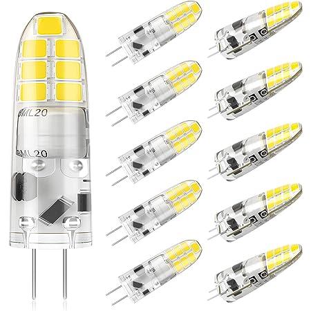 DiCUNO Bombilla LED G4, 2W (equivalente a 20W halógena), 200LM, Blanco frío 6000K, 12V, No regulable, Bombilla pequeña de bajo consumo para campanas/candelabros, Paquete de 10