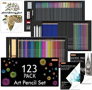 Shuttle Art 123 Pack Art Pencil Set, 36 Watercolor Pencils,36 Oil Based Pencils,12 Sketch Pencils,12 Metallic Color Pencil...