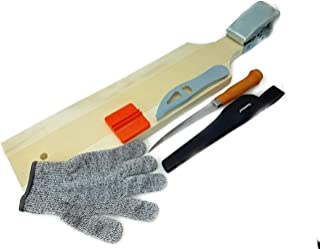 FabFiveCo Fish Cleaning Kit - Fillet Board with Clamp, Fillet Knife with Sheath, Ceramic Knife Sharpener, Anti-Cut Glove, Fish Scaler, 6 Piece Bundle