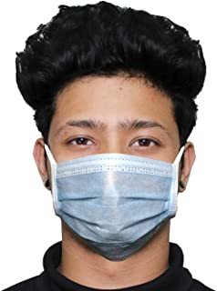 ORILEY OR0003 3 Ply Non Surgical Disposable Face Mask 25 GSM Non-woven Fabric Unisex Nose Mouth Protection Cover with Head Loop (75 Pcs)