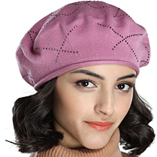 90814bb3 Tomorrow Apariencia Women's Fall Thin Cotton Knit Beret Hat with Diamante  Rhinestone Decoration