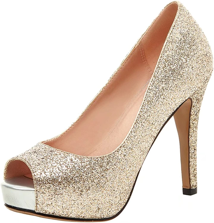 AIYOUMEI Women's Peep Toe Glitter High Heels Platform Stiletto Pumps shoes