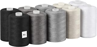 MOOACE Cotton Thread Sets for Sewing Machine - 1000 Yard Spools (Set of 10 - 2 Black, 2 Grey, 2 Dark Grey, 2 Beige, 2 White)